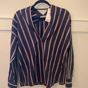 Vince striped V neck voile blouse ,